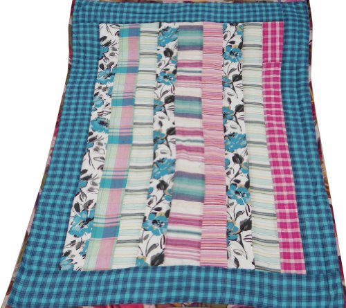"Decorative Multicolored Cotton Baby Quilt Home Dacor Crib Size Reversible Bedspread / Gudri India Gift 50"" X 39"" Inches"
