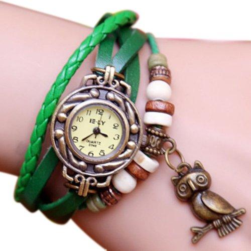 Zps 1Pc Vintage Womens Leather Quartz Owl Pendant Bead Bracelet Bangle Wrist Watch Green