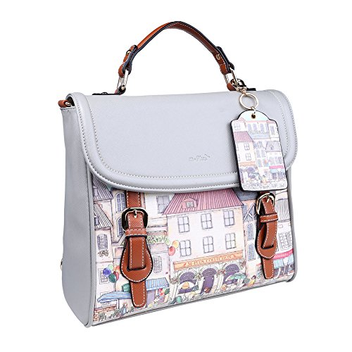[Fleeting Time Womens Fashion Joker Retro Pure Color Casual Shoulders Bag(Grey)] (Ny Costumes Rental)