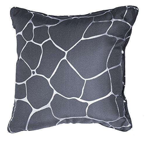 ZAMBAITI-Cuscino imbottito-Trendiger Application Print di colore argento-dimensioni 40x 40 Grigio / antracite
