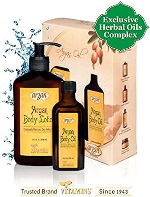 Dry Itchy Sensitive Skin Body Kit - Advanced Herbal Oils Blend - Moroccan Argan Body Moisturizer Renew Lotion 13.5 oz and Body Serum 3.4 oz Moisturizing Combo Set