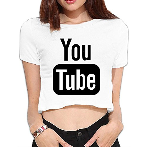 Youtube Crop Top Tshirt Shirts Women Tee Morden Women's (White Tub Top Shirt compare prices)