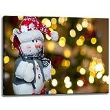 Muñeco de nieve, imagen de Navidad sobre tela Medidas: 120x80 cm. Impresión del arte de alta calidad como un mural...