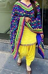 Cozer Creartion Cotton Patiyala yellow Salwar Suit Dress Material