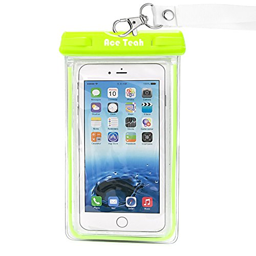 Waterproof Case, Ace Teah Clear Universal Waterproof Case, Dry Bag, Pouch, Transparent Snowproof Dirtproof Protective Cover for iPhone 6S 6 Plus, SE, Samsung Galaxy S7 S6 edge, Note 5 4 3 2 - Green (Samsung Ace Plus Cover compare prices)