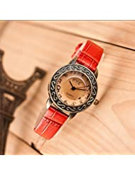 Joker & Witch Sleek Red Vintage 3D Glass Dial Women's Watch
