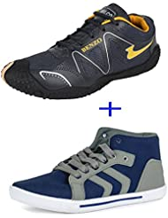 Bersache COMBO Pack Of 2 Pair Men/Boy Grey(Casual Shoes & Sports Shoes)