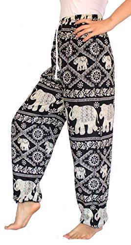Banjamath? Women's Smocked Waist Harem Hippie Boho Yoga Palazzo Casual Pants Black with drawstring waist (Womens Casual Pants compare prices)