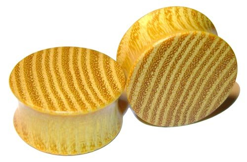 44mm Organic Striped Osage Orange Double Flared Exotic Wood Plugs