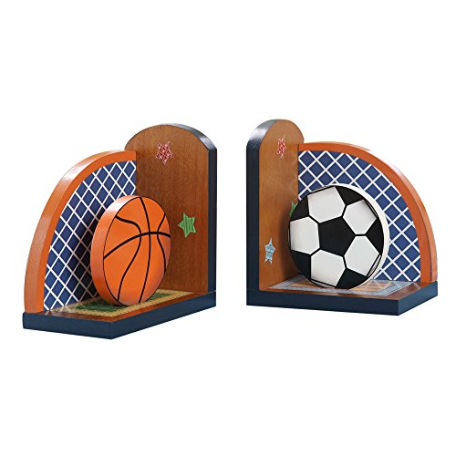 Fantasy Fields - Lil' Sports Fan Thematic Set of 2 Wooden Bookends for Kids |  Imagination Inspiring  Hand Crafted & Hand Painted Details | Non-Toxic, Lead Free Water-based Paint