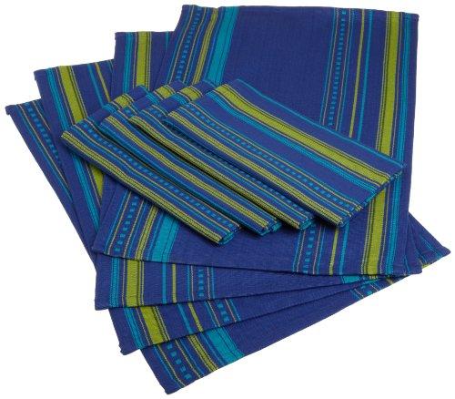 DII Hacienda Bonita Azul Woven Stripe Placemat and Cloth Napkin Set