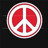 ヘラフラ スタンス ステッカー 1枚 ピースマーク 平和 反戦 usdm 送料無料 レッド