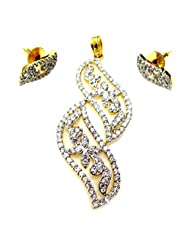 Poddar Jewels Cubic Zirconia Designer Pendant Set - B00S9HB2QW
