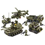 Sluban Ground Forces Joint Attack Blocks Army Bricks Toy – Hind Helicopter & T-90 Main Battle Tank & Army Personnel Carriers & Army Jeep & Prowl Car (Color: Army Bricks Set, Tamaño: 3. Joint Attack)