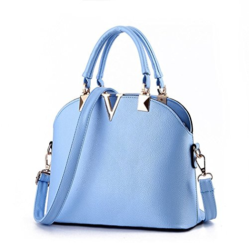 Ryse Womens Fashionable Metal Letter V Exquisite Temperament Handbag Shoulder Bag(Blue)