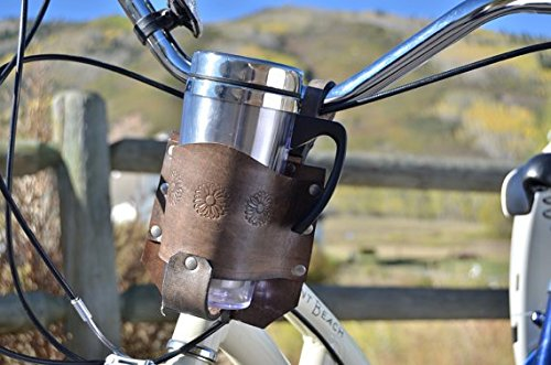 Rocky Mountain Holster Leather Bicycle Cup Holder With Flower Stamps - Brown