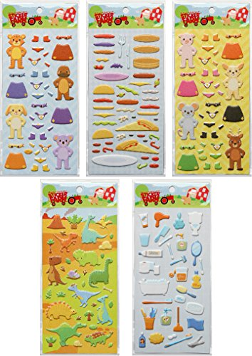 Children's 5-Pack Blue Ribbon Series Reusable Puffy Sticker Bundle For Use With Sticker Farm Activity Books