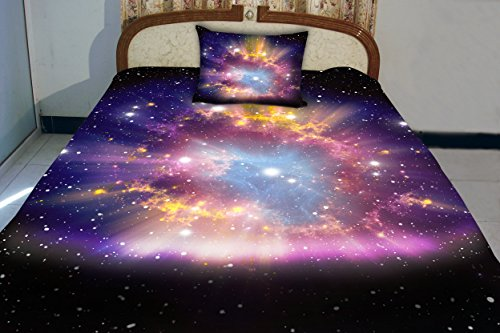 Anlye Amazing Galaxy Bedding Set 2 Sides Printing Nebula Quilt Duvet Covers Cool Nebula Bed Linen Sheets With 2 Matching Purple Nebula Pillow Covers King front-599160