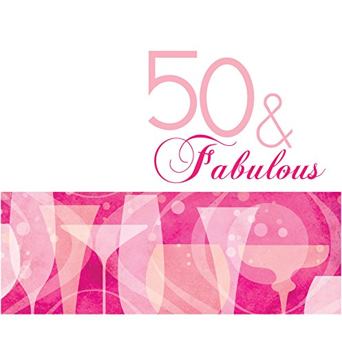 Creative Converting 16 Count 3 Ply 50th Fabulous Birthday Lunch Napkins, Pink
