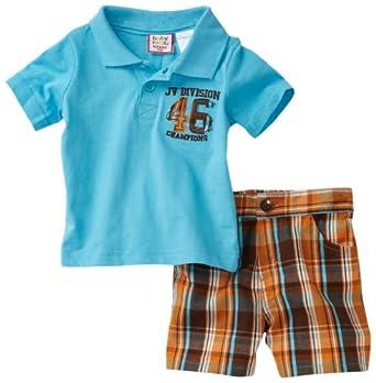 (疯抢)幼儿POLO短袖套装 Babytogs Baby-Boys Newborn Polo Plaid Short $5.94