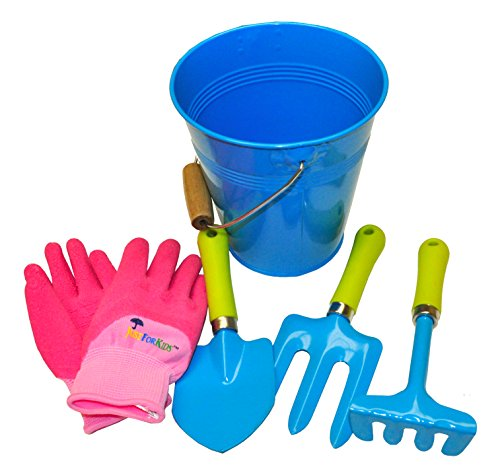 G & F 10051 JustForKids Water Pail with Tool Set and Glove, Blue