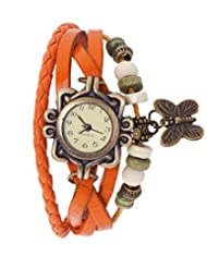 Felizo Womens Vintage Watch With Round Dial And Hanging Butterfly (Orange)