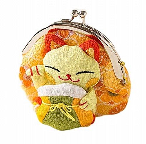 POJ Japanese Style Coin Purse [Green / Yellow / Pink ] Lucky Cat (Manekineko) Pattern Cosplay Goods (Yellow)