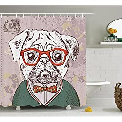 Old Hipster Pug Dog Lover Decor Shower Curtain Set By Ambesonne, Vintage  Illustration Of Old