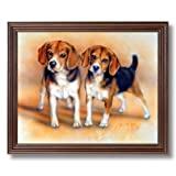 Framed Cherry Baby Beagle Puppy Dogs Hunting Animal Pictures Art Print