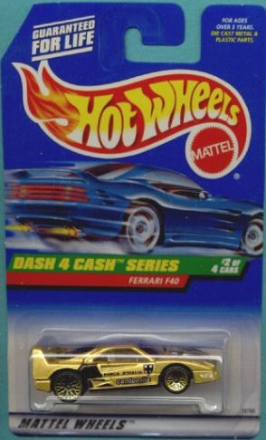 Hot Wheels - 1998 - Dash 4 Cash Series - Ferrari F40 - Gold Metallic Paint - 2 of 4 - Collector #722 - Limited Edition - Collectible 1:64 Scale - 1