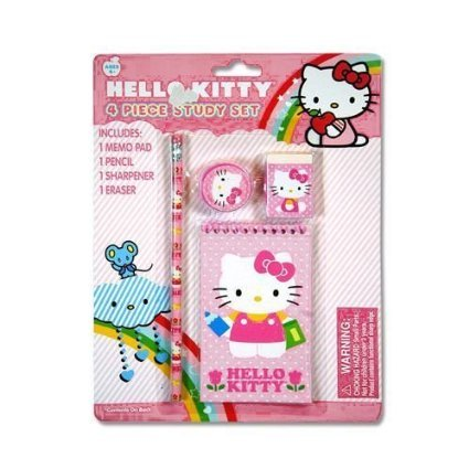 Hello Kitty 4pc Study Kit on Blister Card - 1
