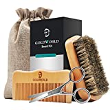 GoldWorld Beard Grooming Kit for Men Care Beard Growth Gifts Set w/Boar Bristle Brush + Wood Comb + Beard Trimmer Scissors + Cotton Bag for Styling Growth & Maintenance (Beard Growth Kit) (Color: Beard Growth Kit)