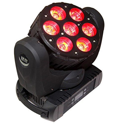 Yiscortm Stage Lighting Led Beam Spot Light 7 Leds Moving Head Cree Rgbw (4In1) Dmx512 For Wedding Xmas Christmas Birthday Home Garden Party Effect (Pack Of 1)