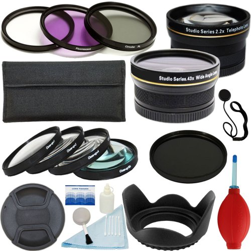Plr Optics 52Mm Essential Filter And Lens Kit - Includes: 0.43X Wide Angle Lens + 2.2X Telephoto Lens + Filter Kit (Uv, Cpl, Nd9, Fld) + Macro Close Up Set (+1, +2, +4, +10) + Tulip Lens Hood + Center Pinch Lens Cap + Lens Cap Strap + Deluxe Cleaning Kit