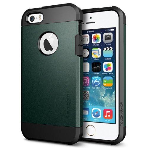 国内正規品 (二重構造) 強力保護 Spigen iPhone 5s / 5 ケース タフ・アーマー (エアクッションテクノロジー) [エイントリー・グリーン] SGP10822