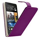 Samrick Specially Designed Leather Flip Case with Credit Card/Business Card Holder, Screen Protector, Microfibre Cloth and High Capacitive Mini Stylus Pen for HTC Desire 310 - Purple