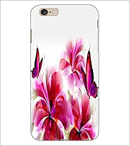 PrintDhaba Butterfly and Flowers D-2387 Back Case Cover for APPLE IPHONE 6 (Multi-Coloured)