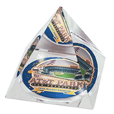 """MLB San Francisco Giants, the Champs, AT&T Park in 2"""" Crystal Pyramid with Colored Windowed Gift Box"""