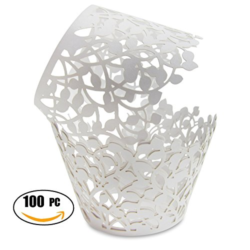 Premium Cupcake Wrappers - 100pcs Pack - Shimmering Decorative White Vine Lace Liner - Versatile design makes it perfect for your next event: Wedding, Birthday, Baby Shower, Tea Party