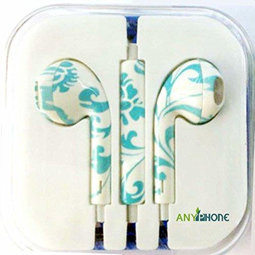 Anyphone Colorful Luxury Headset Headphone Earphone Volume Remote+Mic For Iphone4 5 Ipad3 4 Ipod (16.Green&White)