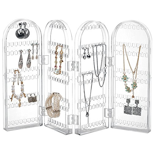 Monkeysell,Jewelry Hanger Organizer - Foldable Acrylic Earring, Necklace & Bracelet Holder Display Screen Stand- holds up to 120 pairs of earrings (Z006A) (Back To Basics Tubs compare prices)
