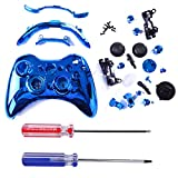 HDE Custom Replacement Wireless Game Controller Shell Case Cover Kit for Xbox 360 - Includes Button Set, Torx & Phillips Head Screwdrivers (Blue Chrome)