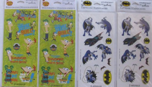 2 Phineas and Ferb Stickers, 2 Batman Cartoon Tattoos,