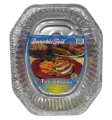 Durable Packaging D40010 Oval Aluminum Roasting Pan, X-Large (Pack of 12)