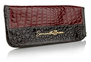 Samantha Brown Croco-Embossed Passport Wallet with Tags - BURGUNDY RED