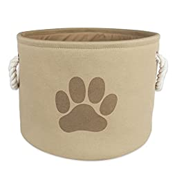 Bone Dry DII Pet Toy and Accessory Round Storage Basket, Taupe, 9 X 12\