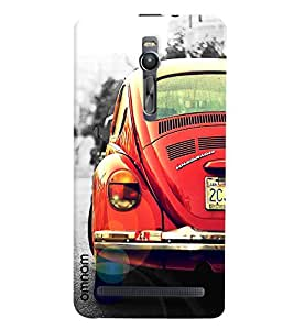 Omnam Vintage Red Car Designer Back Cover Case for Asus Zenfone 2