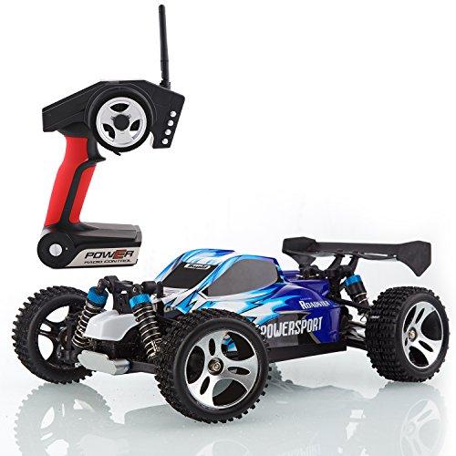 Metakoo RC Auto Off Road ad Alta Velocità 45 kmh 1:18 Scala 100M 10 Minuti di Telecomando Riproduzione Tempi 4WD Veloce Veicolo Elettrico 2.4GHz Buggy Car - Blu