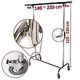 Industrie Kleiderständer für professionellen Kleiderstange Garderobenständer ausziehbar bis 220 cm