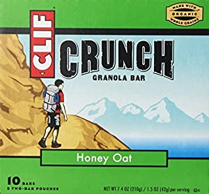 Clif Crunch Granola Bar, Honey Oat, 5 Two-Bar Pouches Net Wt. 7.4 Oz.